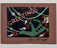 """""""Greetings - Reclining Elf,"""" hand-painted relief print by Sylvia Spicuzza"""