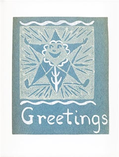 """""""Greetings, 'Starflower,'"""" Linocut with White Ink on Blue Paper by S. Spicuzza"""
