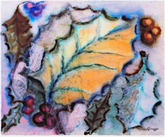 """Leaves & Berries"" giclée print after ca. 1950s original watercolor and collage"