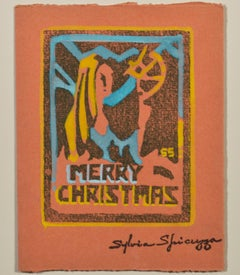 """Merry Christmas,"" original color woodcut by Sylvia Spicuzza"