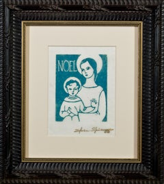 """""""Noel,"""" Religious Linocut in Blue on Tissue Paper signed by Sylvia Spicuzza"""