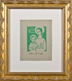 """Noel,"" Religious Linocut in Green on Tan Paper signed by Sylvia Spicuzza"