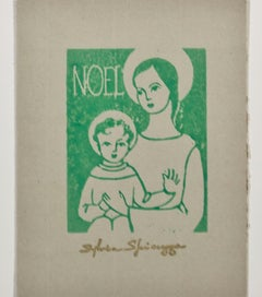 """Noel,"" religious linocut in green on tan paper by Sylvia Spicuzza"
