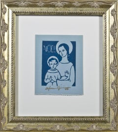 """""""Noel,"""" Religious Linocut on Blue Paper stamped signature by Sylvia Spicuzza"""
