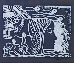 """Woman Dreaming,"" Linocut with Stamped Signature by Sylvia Spicuzza"