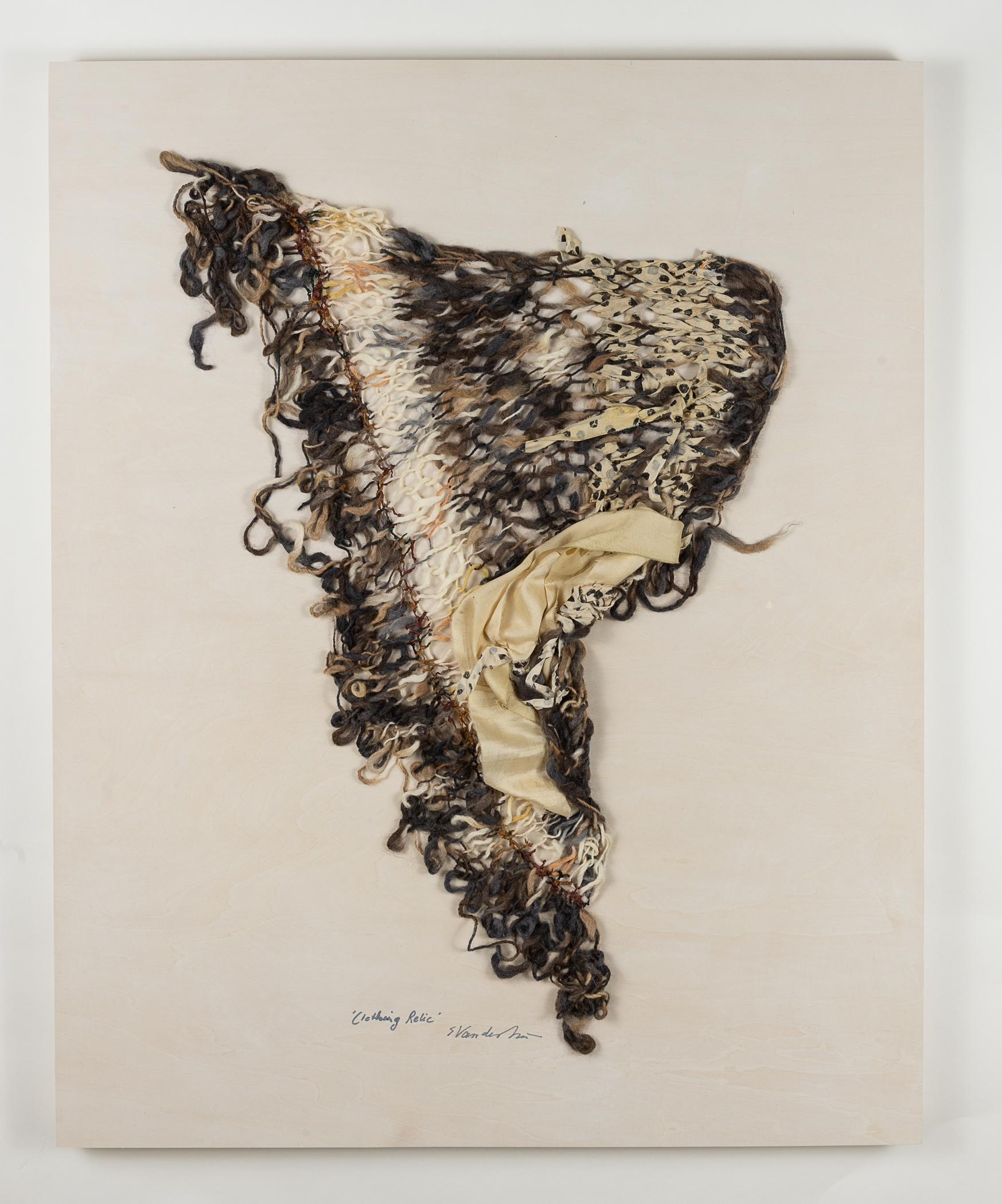 """""""Clothing Relic 1"""", sculpture, fiber, silk, hand knit, greys, browns, ivory"""