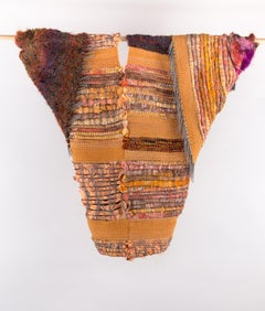 """Peachy Keen"", Sylvia Vander Sluis, fiber, sculpture, felting, orange, brown"