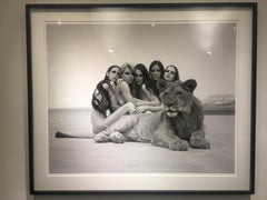 The lion king- group portrait of nude models, posing with a lion in the desert