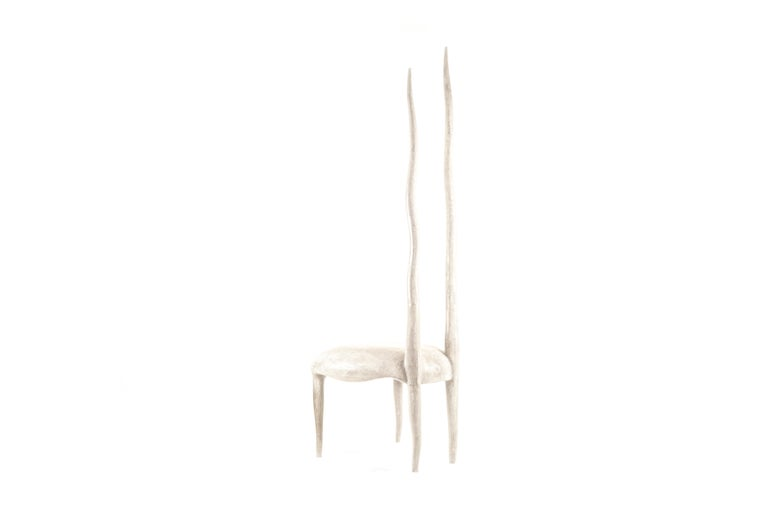 The Sylvie chair is an iconic design by R & Y Augousti. One of their very first designs, this majestic and ethereal piece is a statement in any space. This piece has been photographed in numerous celebrity homes, including design Alexander Wang's