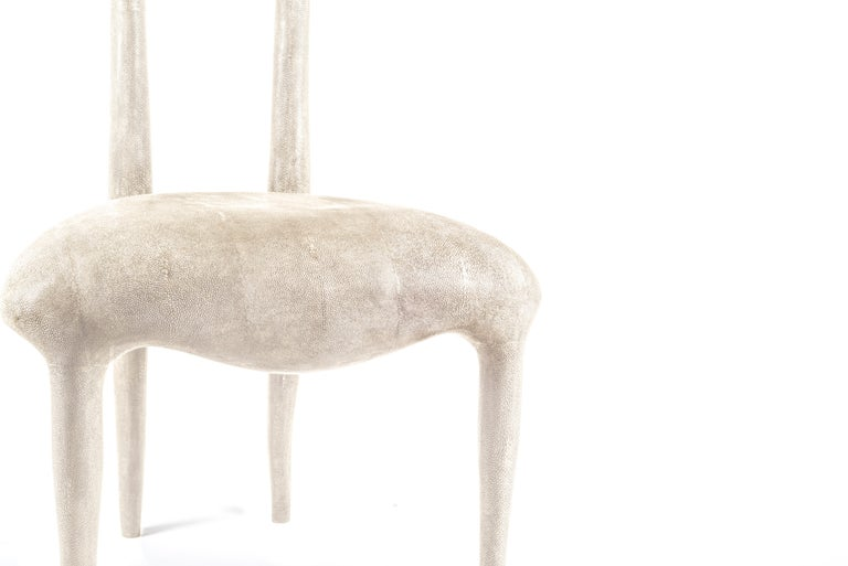 Art Deco Sylvie Chair in Cream Shagreen by R & Y Augousti For Sale