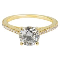 Sylvie Diamond Engagement Ring in 14 Karat Yellow Gold GIA G SI2 1.22 Carat