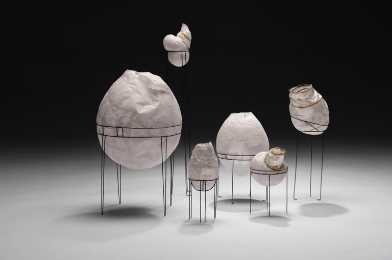 Organic Modern Sylvie Lissa Alusitz Paper Vessels with Stands, 2018 For Sale