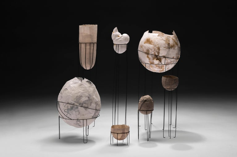 American Sylvie Lissa Alusitz Paper Vessels with Stands, 2018 For Sale