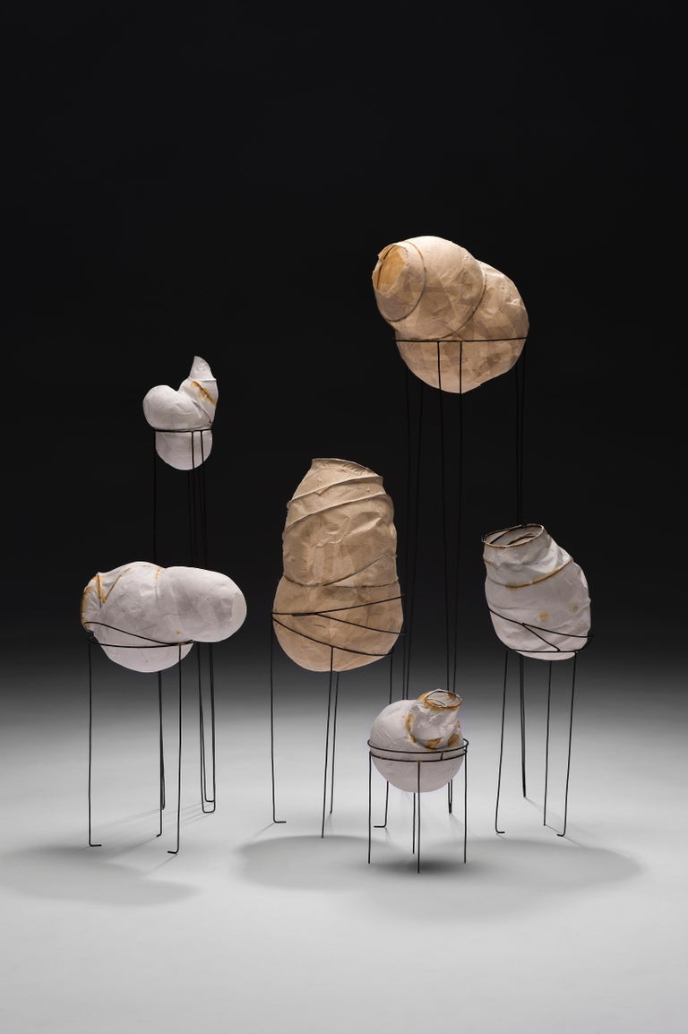 Hand-Crafted Sylvie Lissa Alusitz Paper Vessels with Stands, 2018 For Sale