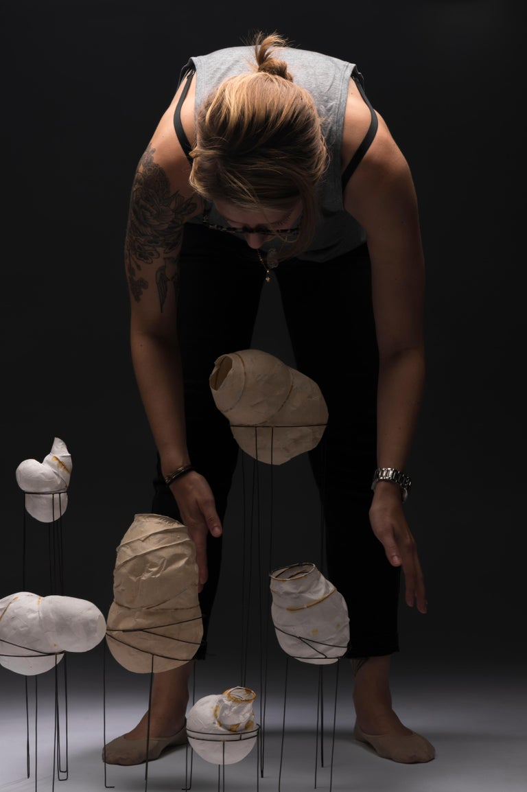 Contemporary Sylvie Lissa Alusitz Paper Vessels with Stands, 2018 For Sale