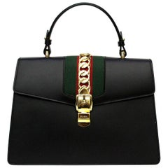 Gucci Sylvie Medium Black Leather Top Handle Bag