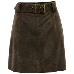 Sylvie Schimmel Paris Vintage Taupe Suede A Line Mini Skirt with a belt France