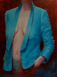 Dressing Room II - Modern Figurative Oil Painting, Women Portrait, Realism, Blue