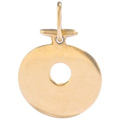 Symbolic Round Disc Yellow Gold 18 Karat Pendant Charm