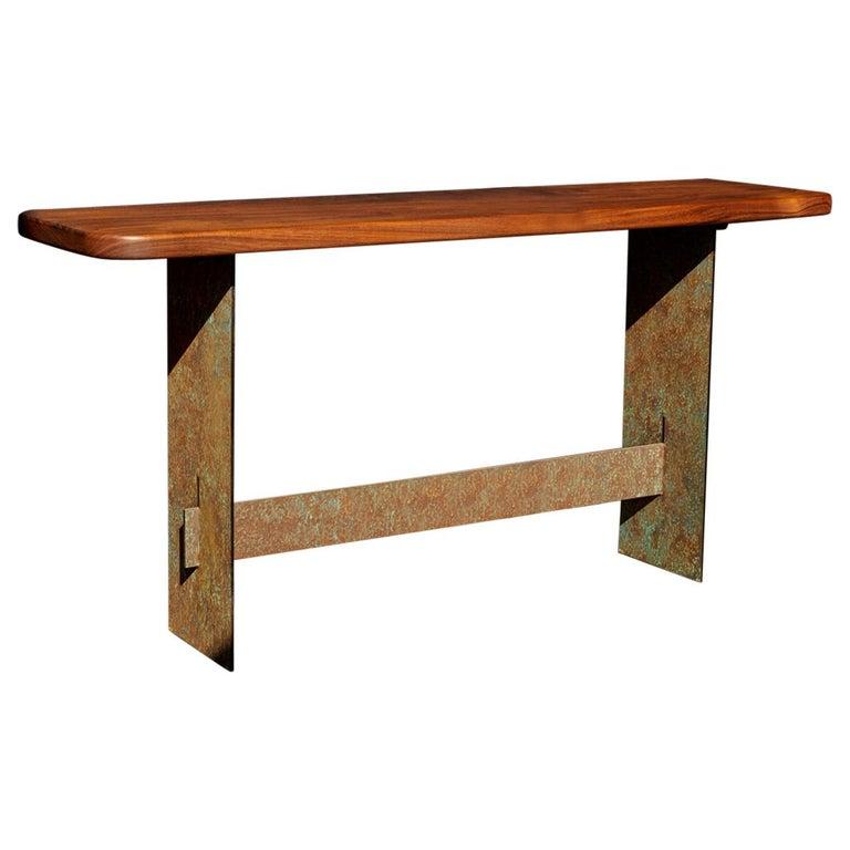 """Symmetric"" Console / Desk, Black Walnut, Patina Steel For Sale"