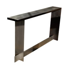 Juncture Console Steel Plates Interlocked in balance with Oak Hardwood Joinery