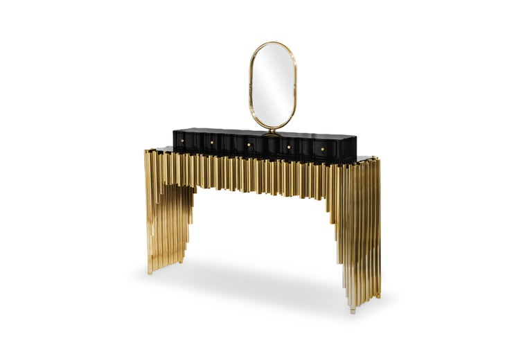 The Symphony dressing table draws inspiration from church organ tubes, as well as the curves of a violin. Like all of Maison Valentina's designs, the Symphony dressing table is handmade by experienced artisans, each with different specialties, from