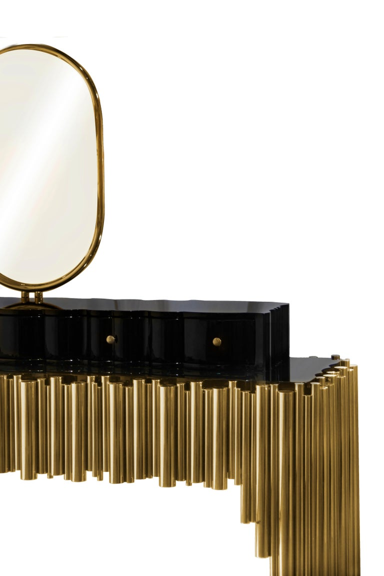 Modern Symphony Dressing Table with Polished Brass Tubes For Sale