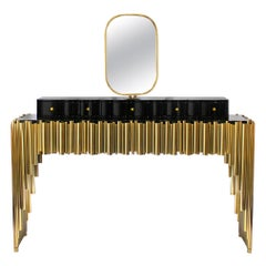 Symphony Dressing Table with Polished Brass Tubes