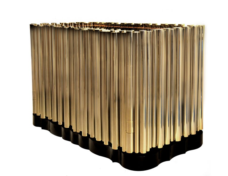 Modern Symphony Four-Door Sideboard in Gold-Plated Brass Tubes by Boca do Lobo For Sale