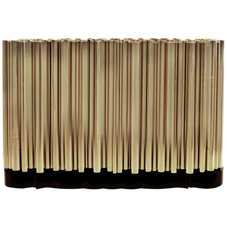 Symphony Four-Door Sideboard in Gold-Plated Brass Tubes by Boca do Lobo For Sale