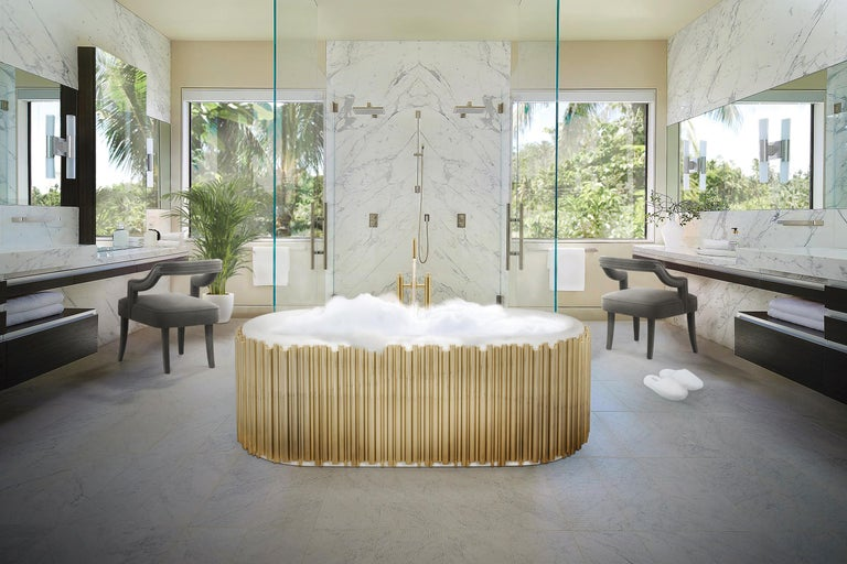 Portuguese Symphony Oval Bathtub with Gold-Plated Brass Tubes For Sale