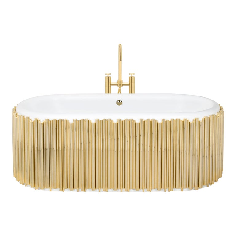 Symphony Oval Bathtub with Gold-Plated Brass Tubes For Sale