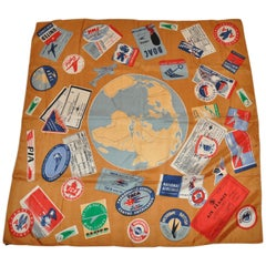 """Symphony Scarfs """"Airlines of World Travels"""" Silk Scarf"""