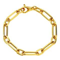 Syna 18 Karat Yellow Gold Rounded Paper Clip Link Bracelet