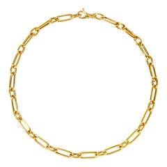 Syna 18 Karat Yellow Gold Rounded Paper Clip Link Chain