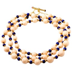 Syna Angel Skin Coral Lapis Lazuli Yellow Gold Bead Necklace