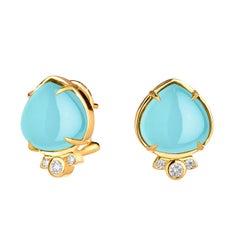 Syna Aqua Chalcedony Earrings with Champagne Diamonds