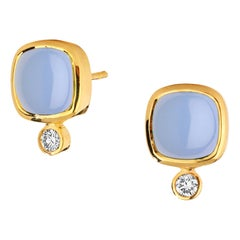 Syna Blue Chalcedony Yellow Gold Sugarloaf Earrings with Champagne Diamonds