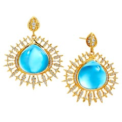 Syna Blue Topaz Earrings with Champagne Diamonds