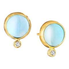 Syna Blue Topaz Yellow Gold Baubles Earrings with Champagne Diamonds