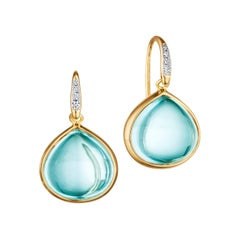 Syna Blue Topaz Yellow Gold Earrings with Diamonds