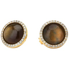 Syna Brown Cyanite Yellow Gold Earrings with Champagne Diamonds