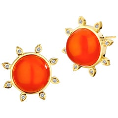 Syna Carnelian Yellow Gold Earrings with Champagne Diamonds