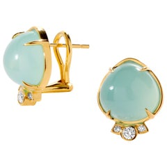Syna Chalcedony Earrings with Champagne Diamonds