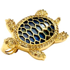 Syna Chrysocolla Yellow Gold Turtle Pin and Pendant with Champagne Diamonds