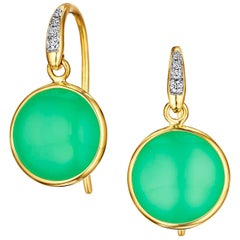Syna Chrysophase Yellow Gold Earrings with Diamonds