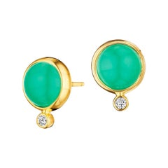 Syna Chrysophrase Yellow Gold Baubles Earrings with Champagne Diamonds