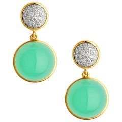 Syna Chrysoprase Yellow Gold Baubles Earrings with Diamonds