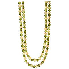 Syna Ethiopian Opal Peridot Yellow Gold Bead Necklace