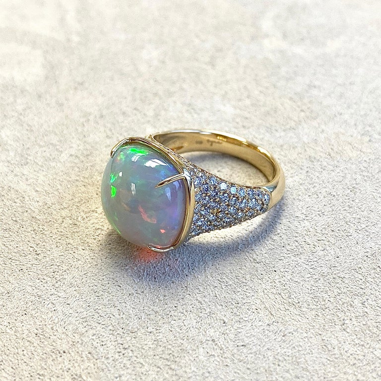 Created in 18 karat yellow gold Ethiopian Opal 7 cts approx Champagne diamonds 1.25 cts approx Ring size US 7, can be sized One of a kind  About the Designers ~ Dharmesh & Namrata  Drawing inspiration from little things, Dharmesh & Namrata Kothari